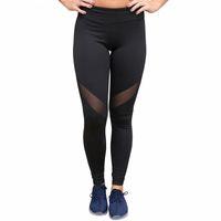 schiere yogahose großhandel-Heißer Verkauf 2018 Schwarz Sheer Mesh Patchwork Sport Leggings Für Frauen Fitness Gym Yoga Hosen LC79932 Ropa Deportiva Mujer