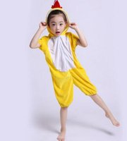 Wholesale yellow duck clothing for sale - Group buy 2018 New style children Cosplay Yellow chicken and duck Tiger Animal perform clothing Boys and girls Dance Conjoined clothes