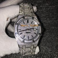 Wholesale sapphire royal - 15400 Black Full Diamond Luxury Watch High Quality Royal 316 Stainless Steel Automatic AAA 3 Color Diamond Watches Waterproof Watch 41mm