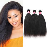afro, das haareinschlagfaden trägt großhandel-8A Peruanische Reine Haar 3 Bundles Afro Verworrene Gerade Menschenhaarverlängerungen Schuss Italienische Grobe Yaki Gerade Bündel Häkeln Haar weben