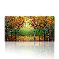 pintura al óleo árboles forestales al por mayor-100% pintado a mano pintura al óleo paisaje árboles bosque arte de la pared arte abstracto moderno contemporáneo decoración del hogar decoración de la pared