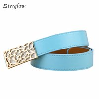 Wholesale womens fashion harness - 2018 Hot fashion designer Womens Belt high quality Candy Colors Smooth buckle Belts Female Belt For Jeans leather harness U132