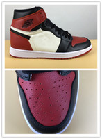 Wholesale nylon toes - 2018 New true 1 High OG Bred Toe black red Men Basketball Shoes Sports Sneakers top quality Wholesale box Size 8-13