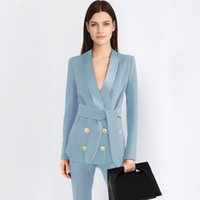 bayan ofis çalışma üniforması toptan satış-2 parça mavi Pant Suit Resmi Bayanlar Ofisi OL Üniforma Tasarımları Kadınlar eleBusiness Pantolon ile Çalışma Aşınma Ceket Setleri