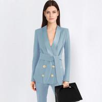 modelos de roupas femininas venda por atacado-2 peça azul Calça Ternos Formal Escritório Senhoras OL Uniforme Designs Mulheres eleBusiness Trabalho Desgaste Casaco com Conjuntos de Calças