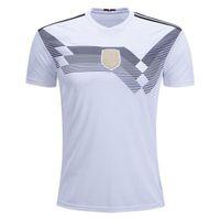Wholesale football shirt logos - Sewn Logo MULLER OZIL KROOS soccer jerseys 2018 World Cup GOTZE HUMMELS CAMISETAS BOATENG REUS Home White football Jersey T shirt Size S-XXL