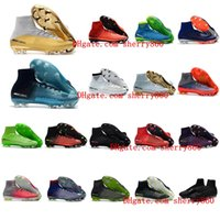 Wholesale Boys High Tops Shoes - 2018 womens soccer cleats mercurial superfly CR7 Quinto Triunfo FG soccer shoes boys mens high top football boots kids neymar ronaldo