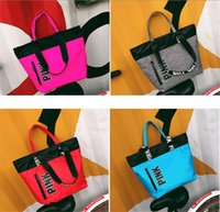 Wholesale Food Shopping Bags - 9 Styles Women Handbags Pink Printed Waterproof Shoulder Bags Fashion Girls Shopping Bags Letters Beach Travel Bag Totes free shipping