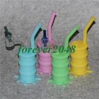Wholesale double barrel glass for sale - Group buy Portable glow in dark Silicone Barrel Rigs Smoking Oil Concentrate Pipe with all clear double tube quartz nail banger colorful glass carp