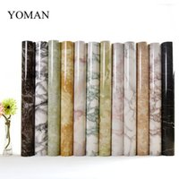 Wholesale modern classic wall lights - 5M Marble Waterproof Vinyl Self adhesive Wallpaper Modern Contact Paper Kitchen Cupboard Shelf Drawer Liner Wall Stickers