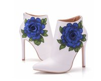 Wholesale bridal winter boots - New Blue Flower Lace Lady Party Prom Shoes Boots Wedding Shoes Bridal Dress Women Shoes