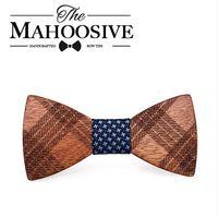 Wholesale Mens Cravat Ties - Mahoosive Wood Bow Ties for Mens Wedding Suits Wooden Bow Tie Butterfly Shape Bowknots Gravatas Slim Cravat
