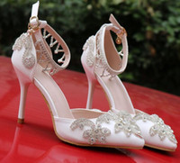 Wholesale cheap crystal buckles - Luxury Crystal Wedding Bridal Shoes For Bride Designer Rhinestones High Quality Women Designer Sandals Cheap High Heel 9CM Pointed Toe