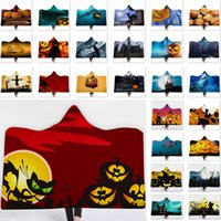 Wholesale hooded bath towel for adults for sale - Group buy Halloween Bath Hooded Blanket For Pumpkin Ghost Towel Children Adult Blouses Blanket Warm Wrap Shawl Poncho Cape Coat WX9