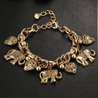 Wholesale lucky rhinestone bracelet for sale - Group buy 2 Color Heart Lucky Elephant Pendant Charms Vintage Elephant Heart Pendant Bangles Bracelets Jewelry Free DHL D606S