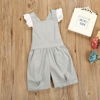 Wholesale braces suit - Summer kids baby girl falbala children's jumpsuit floral suits cute baby button brace 1-6 years old outfit