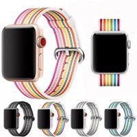тканевые наручные часы оптовых-Радуга тканые нейлон группа для Apple Watch 42 мм 38 мм ремешок iwatch серии 4 3 2 1 44 мм/40 мм браслет ткань пояса Корреа