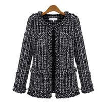 ingrosso perle di perle-Autunno Inverno Giacca bomber donna Autunno nuovo sottile Grid Coat Plus Size manica lunga girocollo tasca sottile giacca Tweed MT1705