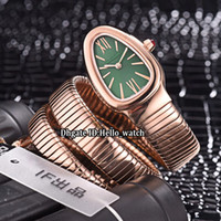 quarzuhr grün großhandel-8 Stil 29mm Serpenti Tubogas 102726 Grünes Zifferblatt Schweizer Quarz Damenuhr Roségold Fall Stahl Ring Armband Mode Dame Uhren