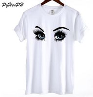 Wholesale sweet girl face - Sweet Tshirt 2018 Fashion Blue eyes with long lashes Print T-shirt Women Summer Cotton White T shirt Hipster Girl Smile Face Top