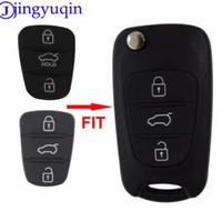 ingrosso copertura in gomma chiave auto-jingyuqin nuova sostituzione pad in gomma 3 pulsanti flip shell chiave a distanza dell'automobile per Hyundai I30 IX35 Kia K2 K5 caso chiave della copertura