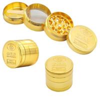 madeni paralar toptan satış-Yeni desen Metal sikke ile 4 katmanları altın sikke desen sigara aksesuar Manuel duman değirmeni I465