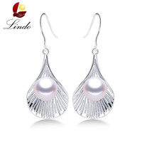 подлинный пресноводный жемчуг стерлингового серебра оптовых-High Quality Genuine S925 Sterling Silver Jewelry For Women Elegant Noble 5A 100% Natural Freshwater Pearl Drop Earrings Lindo