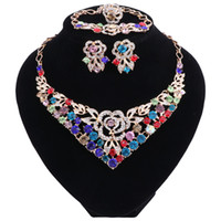 Wholesale dark blue bridal jewelry resale online - Flower Crystal Wedding Bridal Jewelry Sets Gold Color Rhinestone Wedding Jewelry Necklace Earrings Sets for Women