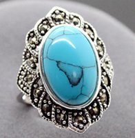 anillos tibetanos de la joyería de la turquesa al por mayor-Moda Natural Turquesa Tibetana 925 Anillo de plata de ley Joyería Size7 8 9