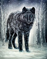 Wholesale digital art designs resale online - winter is coming Artwork Unframed Wall Art Animal Oil Painting on Canvas the Colored Fashion Design High Quality
