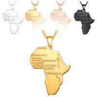 afrikanische schmuckkarte großhandel-Hip Hop Afrika Karte Anhänger Halskette Männer s Gold Silber Rose Gold Schwarz Schriftzug afrikanische Karte Charme Gliederkette Für Frauen Hiphop Schmuck