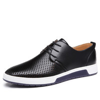 Wholesale shoes holes - New Men Casual Shoes Leather Summer Breathable Holes Luxury Brand Flat Shoes for Men Drop Shipping