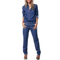 plus size denim jumpsuits UK - Bohoartist Women Denim Jumpsuit Blue Autumn Long Sleeve Overalls Female Long Jumpsuits Loose Casual Plus Size Jean Jumpsuit
