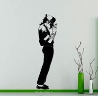 vinil müzik duvar dekor toptan satış-Michael Jackson Duvar Sticker Pop Yıldızı Vinil Çıkartması Sanat Dekor Müzik Ev Iç Odası Retro Duvar Tasarım