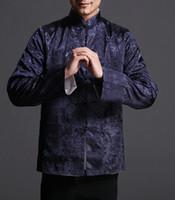 brocado chino azul al por mayor-Chaqueta reversible en azul / plateado de Tai Chi Kungfu Chaqueta 100% Brocado de Seda # 103
