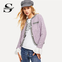 b90e4a3f1515 Sheinside Purple Office Lady Elegant Coat Women Blazers And Jackets  Contrast Ruffle Cuff Curved Outerwear 2018 Fall Tweed Blazer