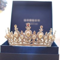 Wholesale Bronze Copper Alloy - Super Shiny Bling Bling Crystal Wedding Bridal Crown Vintage Big Size Round Tiaras Hair Accessories Bride Jewelry 2018 For Wedding Events