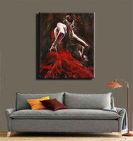 Wholesale flamenco paintings for sale - Group buy High Quality Modern Abstract Handpainted HD Print Oil Painting Spanish Flamenco Dancer Portrait On Canvas Wall Art Home Decor p118
