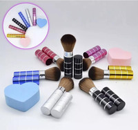 Wholesale color design lipstick resale online - Lipstick tube makeup brush Telescopic design for carry in bag powder brush special Portable cosmetic brush color