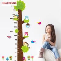 gráfico de árvores vivas de animais venda por atacado-Diy home decor coruja macaco borboleta flor gráfico de crescimento da árvore adesivos de parede sala de estar à prova d 'água removível papéis de parede