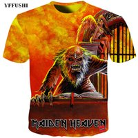 3d musik großhandel-YFFUSHI 2018 Iron Maiden 3D-T-Shirt Crazy Iron Maiden Heavy Music Banddruck Hip Hop T-Shirt Summer Streatwear Men 3D Fire T-Shirt