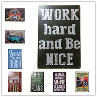 Wholesale beach art paintings for sale - Group buy Beach Motel Life Wine Garage Route Vintage Retro Metal Tin Sign Retro Metal Painting Poster Bar Pub Signs Wall Art Sticker