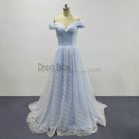 Wholesale Gray Fairy - 2018 Cinderella A-Line Evening Dresses with Off Shoulder Court Train Bling Glitter Lace Fairy Elegant Princess Prom Gowns Real Images
