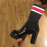 zapatos de diseño de muslo al por mayor-2018 Botas de tobillo elásticas para mujer 9,5 cm Diseño de marca de tacones altos Botas de punto sobre la rodilla calcetines elásticos patchwork muslo botines altos