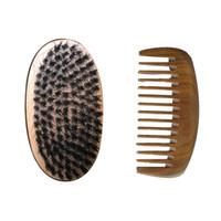 ingrosso spazzole del cinghiale all'ingrosso-Nuova spazzola di capelli di setola di cinghiale reale piccola tasca di legno pettine a denti larghi pettine delle donne uomini barba grooming stile regalo all'ingrosso