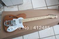 guitare électrique couleur bois naturel achat en gros de-Telecaster Electric Guitar Tele F - guitare électrique trou avec bois de couleur naturelle, avec