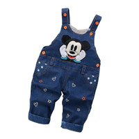 Wholesale boys jeans pants overall resale online - Cola spring fashion leisure Pant for Baby Girls Boys bib overall children Denim Overalls Trousers kids cartoon infant jeans