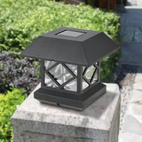 poste de luz solar solar venda por atacado-Luz Solar Powered IP65 À Prova D 'Água Resistente Ao Ar Livre Sensor de LED Wall Pilar Chapiter Pós Lâmpada para o Jardim Do Pátio Portão Decoração