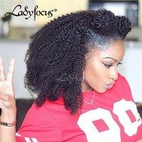 afro bebek saç dantel perukları toptan satış-Lady Odak Dantel Ön İnsan Saç Peruk Afro Kinky Kıvırcık Peruk Siyah Ile Bebek Saç Ile Brezilyalı Peruk Preplucked