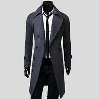 Wholesale mens gray trench coat - Wholesale- 2016 New Mens Trench Coat Slim Mens Long Jackets And Coats Overcoat Double Breasted Trench Coat Men Windproof Winter Outerwear